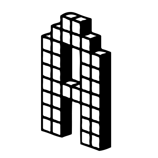 black color capital a letter alphabet png with transparent background 3d building block style